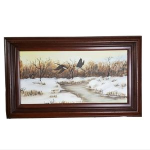 Original Framed Art Canada Geese in Winter Flight